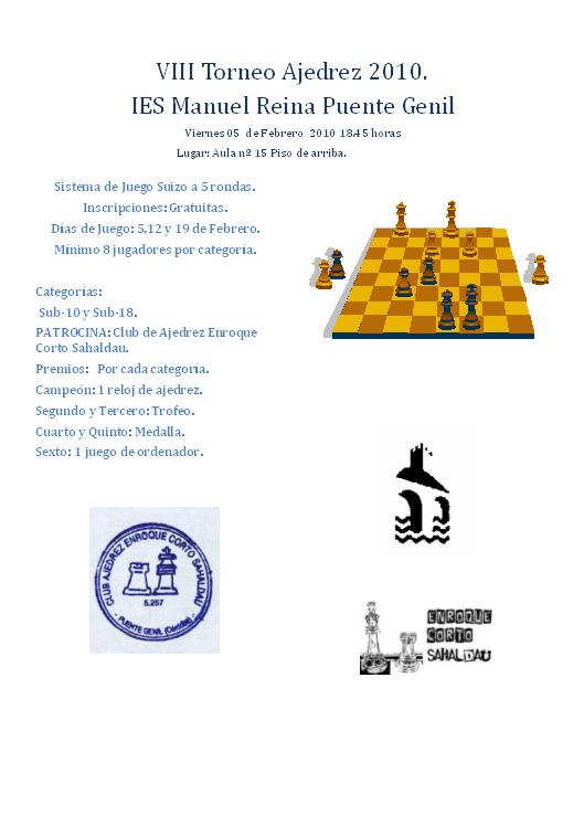 Cartel del VIII Torneo de ajedrez IES Manuel Reina