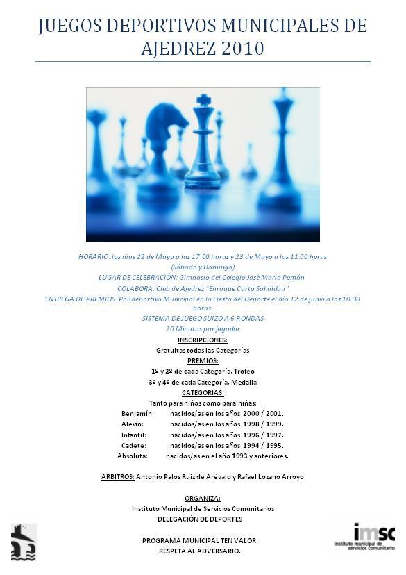 Juegos Deportivos Municipales de Ajedrez 2010