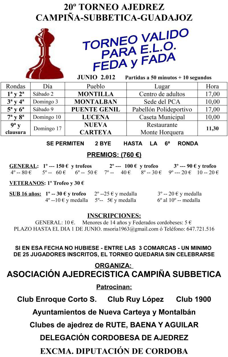 Torneo Ajedrez Campina Subbetica Guadajoz