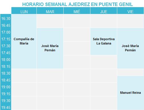 Horarios de los cursos de ajedrez Enroque Corto Sahaldau de Puente Genil