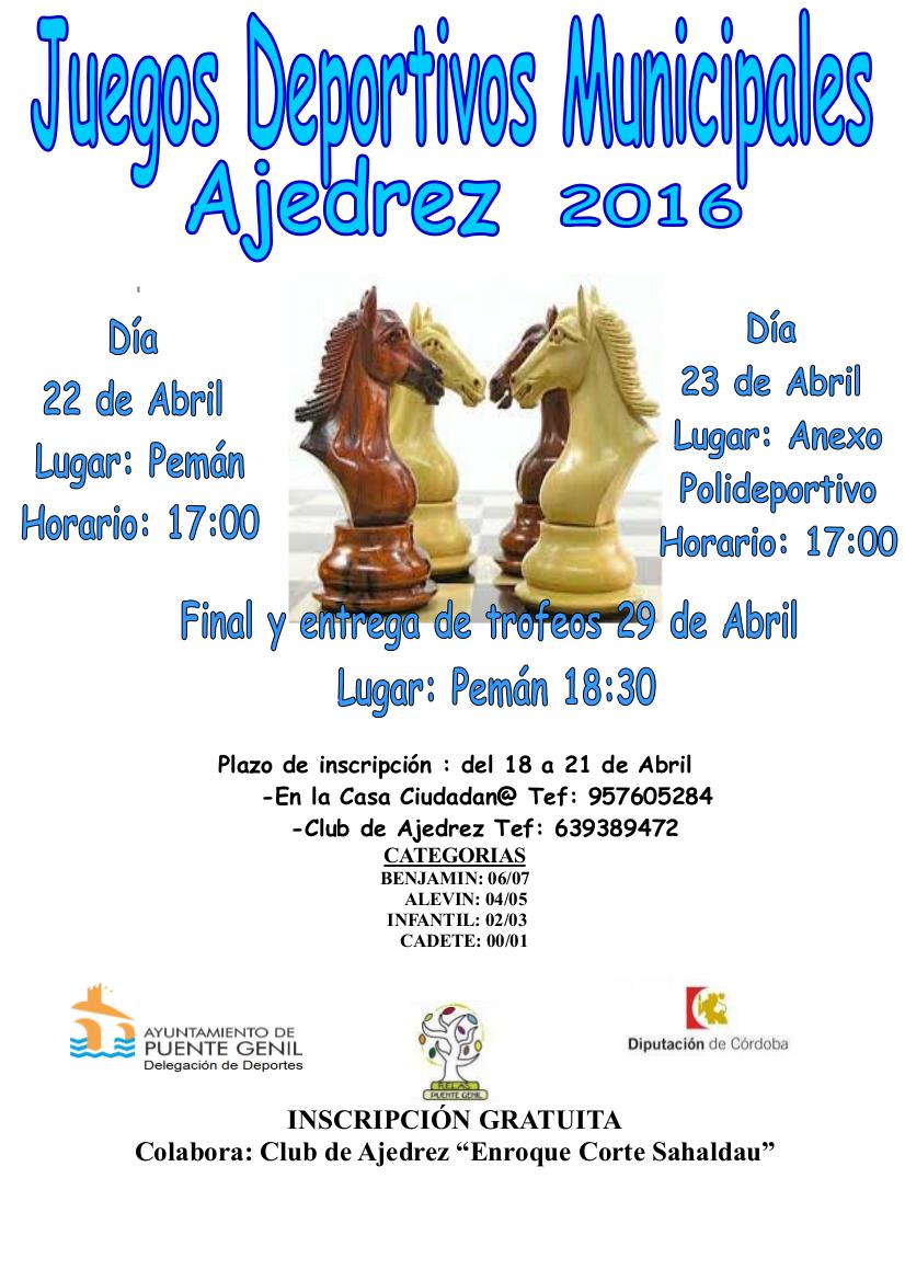 Juegos Deportivos Municipales Ajedrez Puente Genil 2016