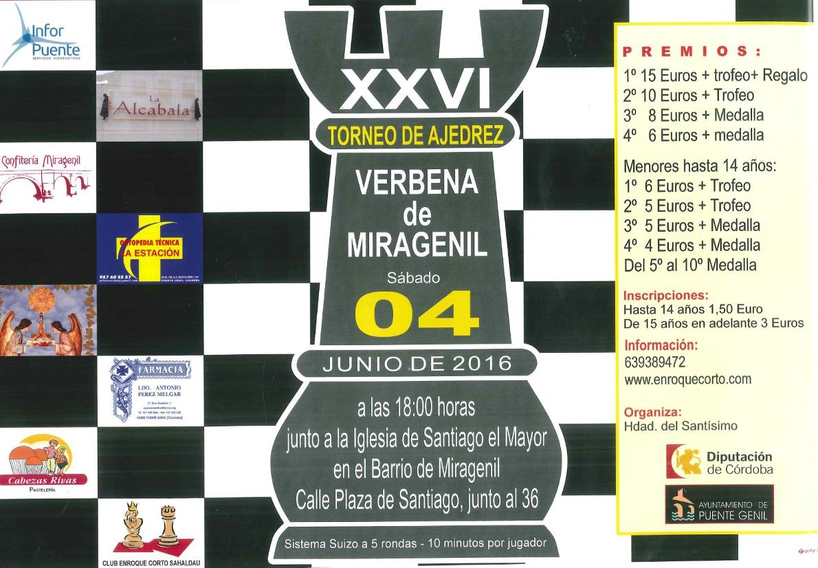 Torneo Ajedrez Verbena Miragenil Puente Genil 2016