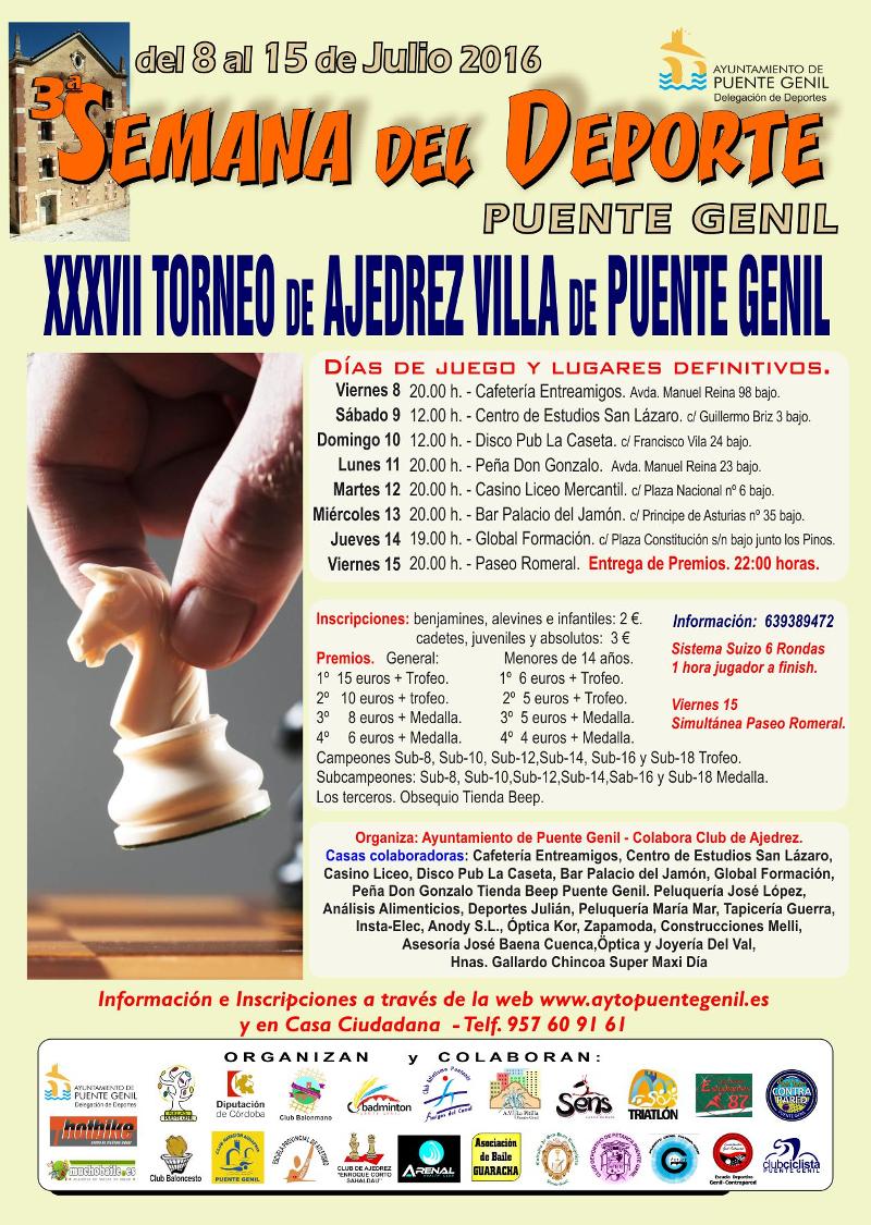 Torneo Ajedrez Villa Puente Genil 2016 Semana del Deporte