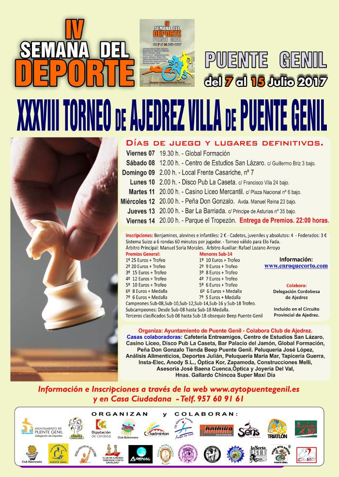 Torneo Ajedrez Villa Puente Genil 2017 Semana del Deporte