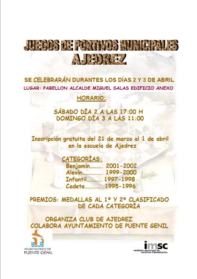 Torneo de Ajedrez Juegos Deportivos Municipales 2011