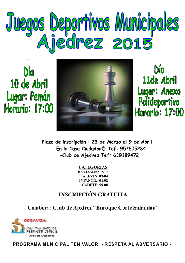 Torneo Ajedrez Juegos Deportivos Municipales Puente Genil 2015