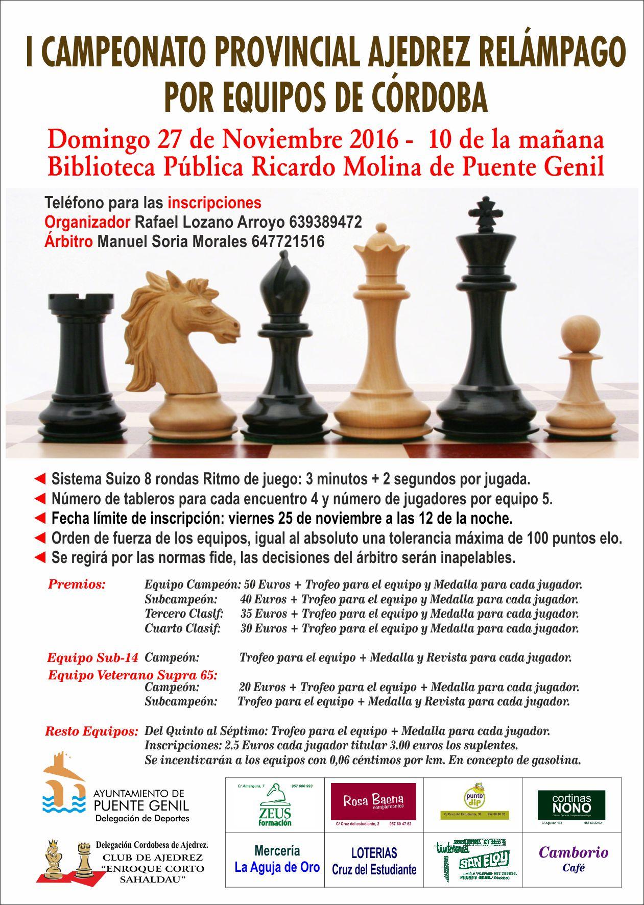 I Campeonato Provincial de Ajedrez Relámpago por Equipos de Córdoba 2016