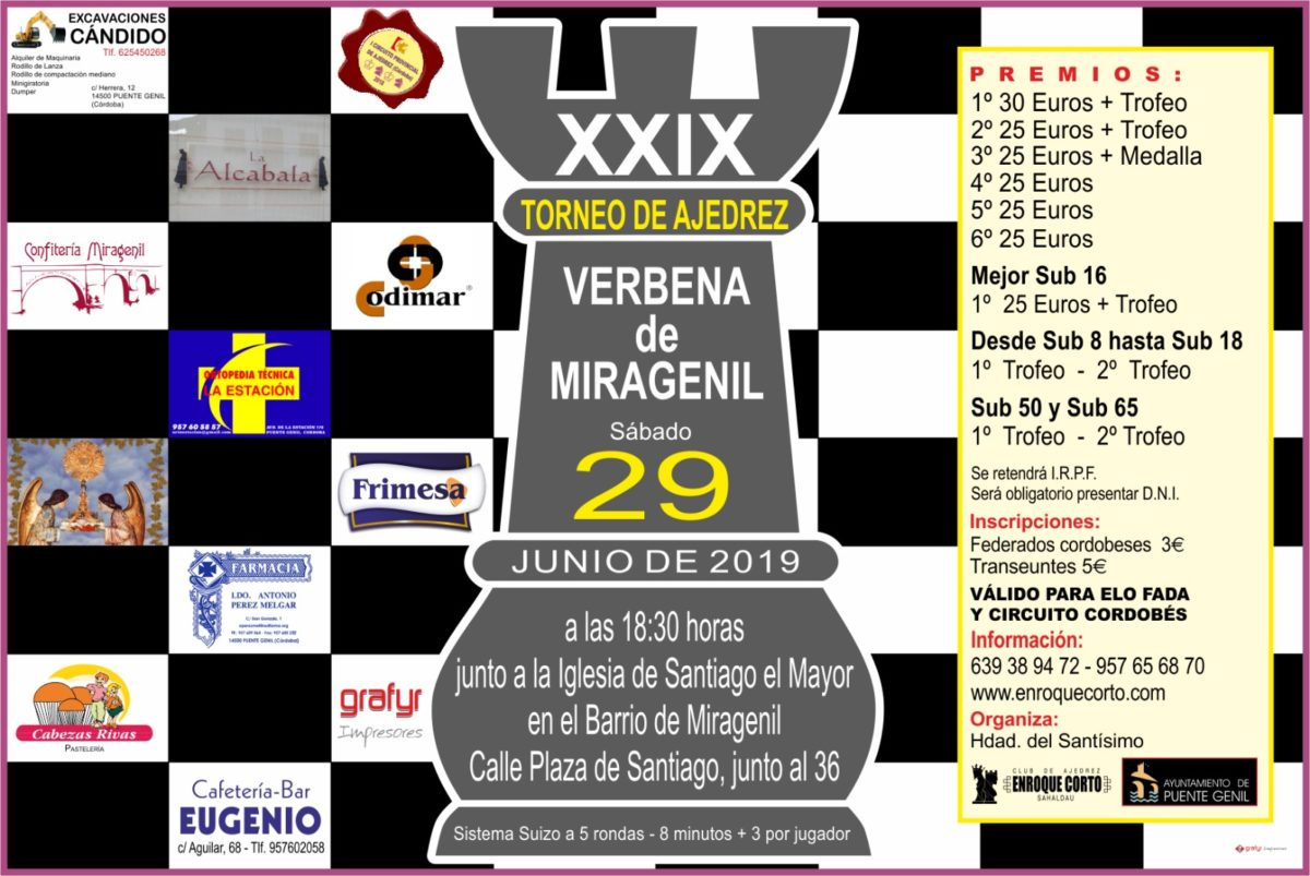 Torneo Ajedrez Verbena Miragenil Puente Genil 2019